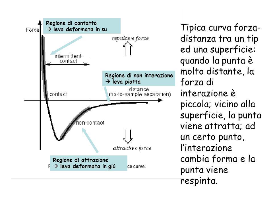 Tipica curva forza- distanza tra un tip ed una superficie: quando la punta è molto distante, la forza di interazione è piccola; vicino alla superficie, la punta viene attratta; ad un certo punto, linterazione cambia forma e la punta viene respinta.