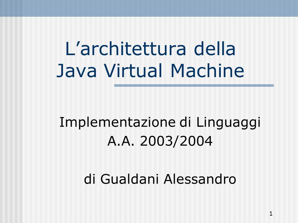 2 Cosè la JVM (1) È una macchina astratta stack-based, multi-threading, type safety È indipendente dalla piattaforma la JVM e le Java API realizzano una piattaforma (Java Platform o Java runtime system) su cui vengono eseguite le applicazioni Java