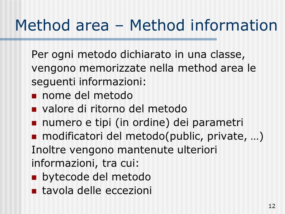 12 Method area – Method information Per ogni metodo dichiarato in una classe, vengono memorizzate nella method area le seguenti informazioni: nome del