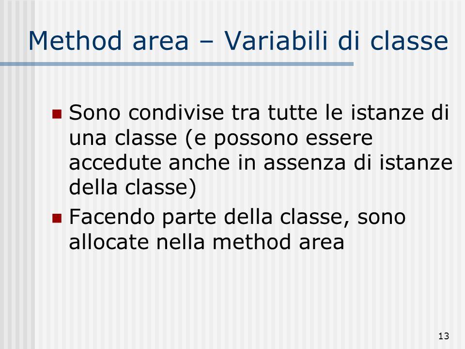13 Method area – Variabili di classe Sono condivise tra tutte le istanze di una classe (e possono essere accedute anche in assenza di istanze della cl