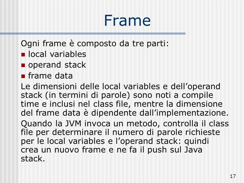 17 Frame Ogni frame è composto da tre parti: local variables operand stack frame data Le dimensioni delle local variables e delloperand stack (in term