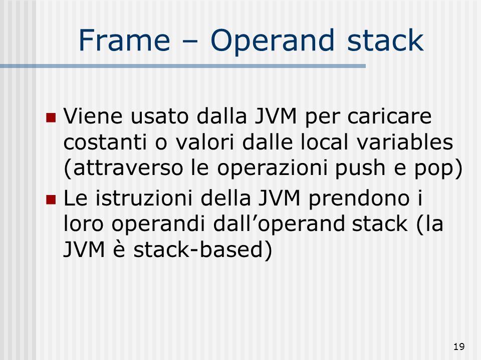 19 Frame – Operand stack Viene usato dalla JVM per caricare costanti o valori dalle local variables (attraverso le operazioni push e pop) Le istruzion