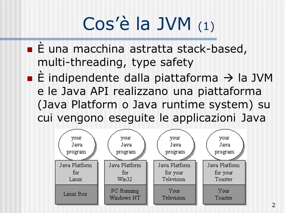3 Cosè la JVM (2) È un interprete del bytecode: la fase di compilazione traduce i sorgenti java in un linguaggio intermedio, il bytecode, memorizzato nei class files A.java B.java C.java Java compiler bytecode A.class B.class C.class