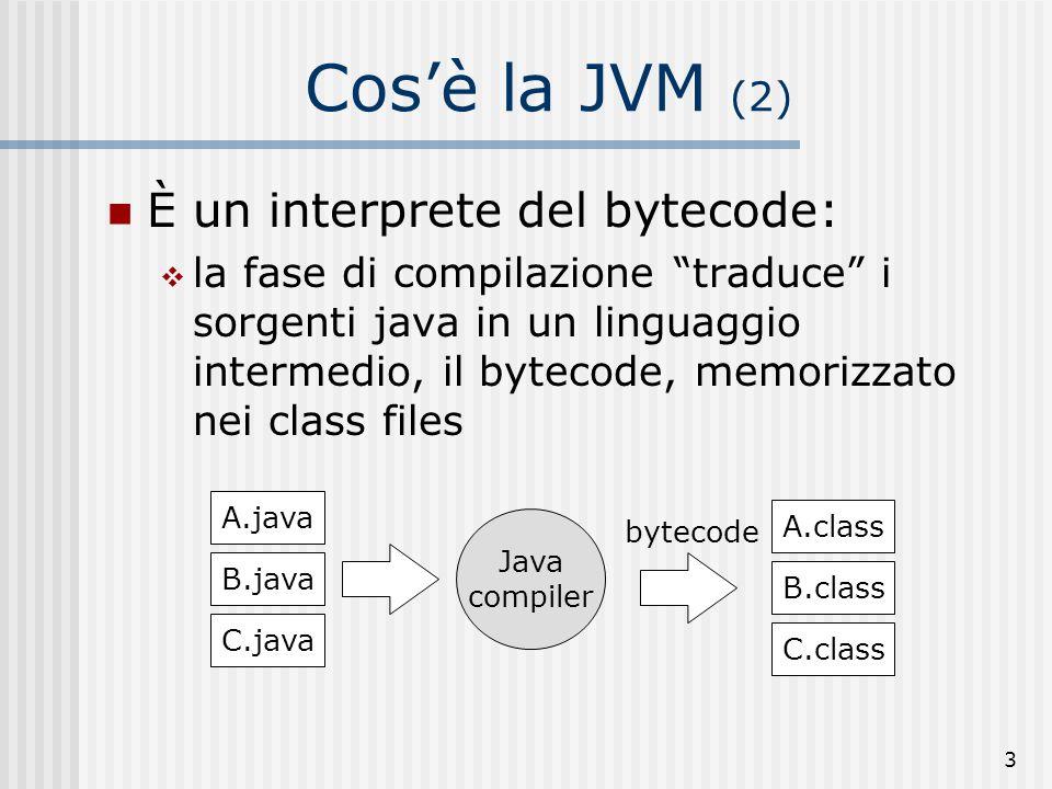 3 Cosè la JVM (2) È un interprete del bytecode: la fase di compilazione traduce i sorgenti java in un linguaggio intermedio, il bytecode, memorizzato