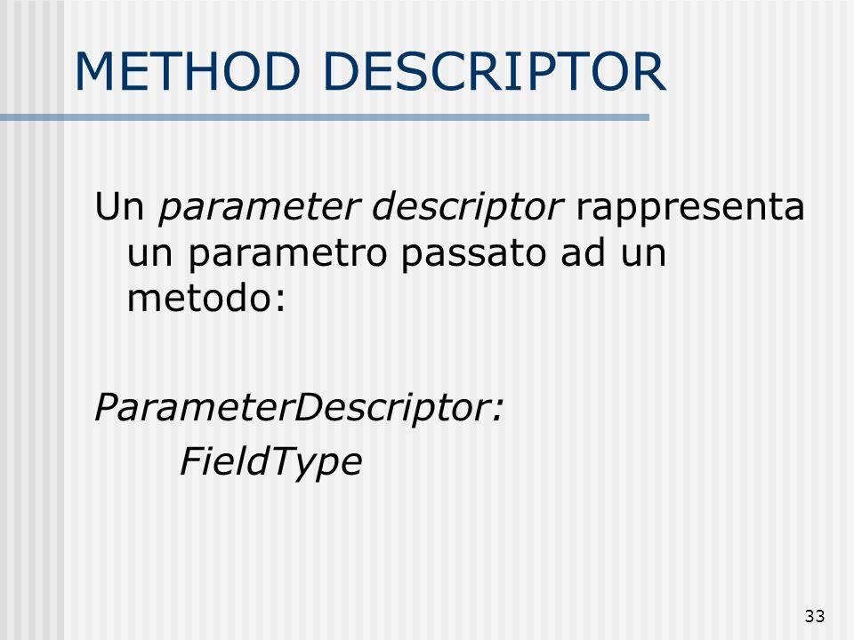 33 METHOD DESCRIPTOR Un parameter descriptor rappresenta un parametro passato ad un metodo: ParameterDescriptor: FieldType