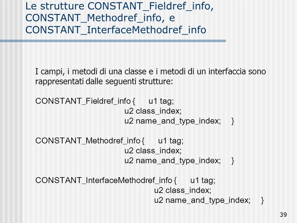 39 Le strutture CONSTANT_Fieldref_info, CONSTANT_Methodref_info, e CONSTANT_InterfaceMethodref_info I campi, i metodi di una classe e i metodi di un i