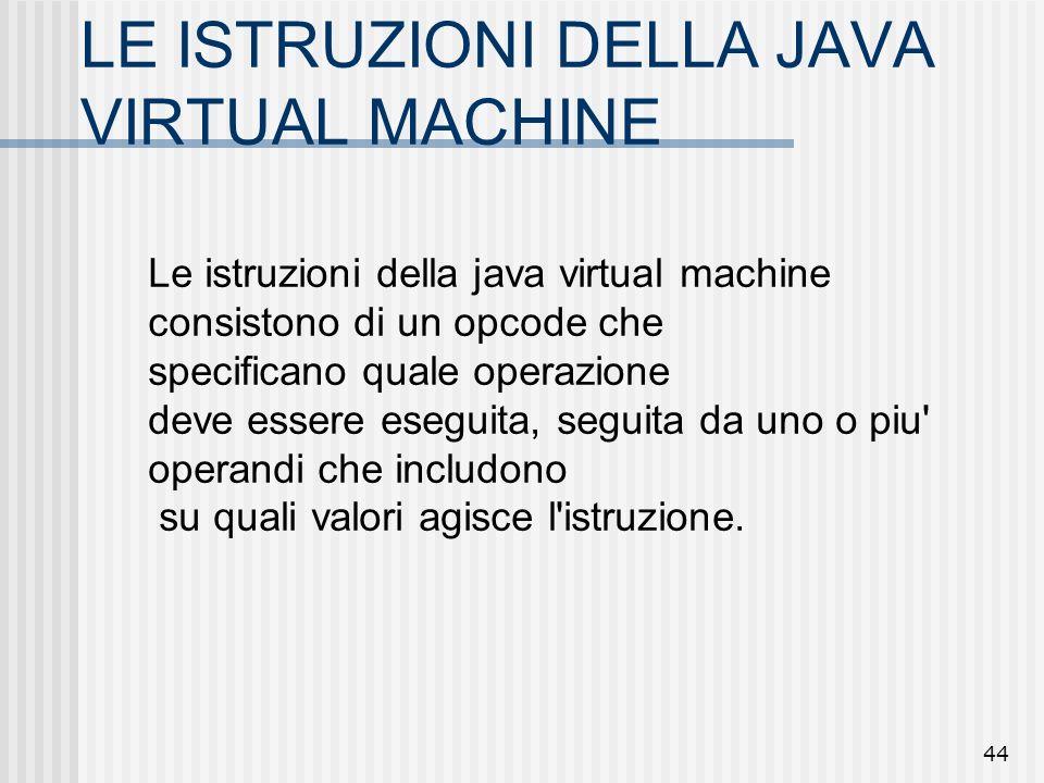 44 LE ISTRUZIONI DELLA JAVA VIRTUAL MACHINE Le istruzioni della java virtual machine consistono di un opcode che specificano quale operazione deve ess