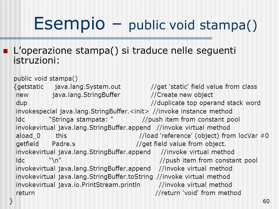 60 Esempio – public void stampa() Loperazione stampa() si traduce nelle seguenti istruzioni: public void stampa() {getstatic java.lang.System.out //ge