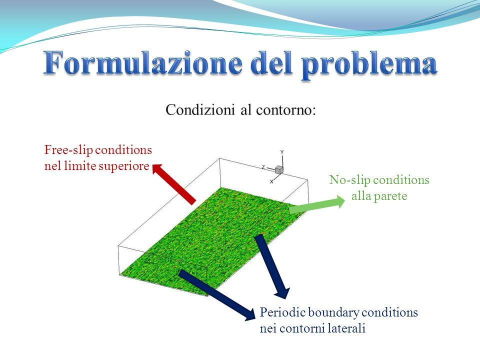 Periodic boundary conditions nei contorni laterali Free-slip conditions nel limite superiore No-slip conditions alla parete Condizioni al contorno: