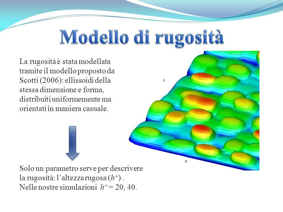 La rugosità è stata modellata tramite il modello proposto da Scotti (2006): ellissoidi della stessa dimensione e forma, distribuiti uniformemente ma o
