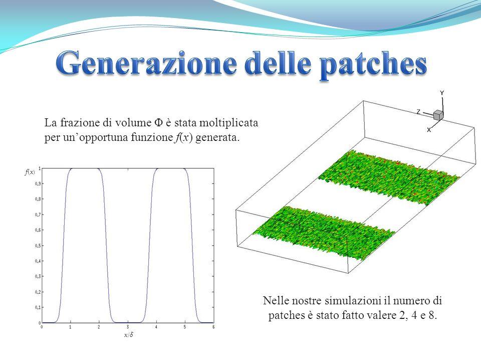 La frazione di volume Φ è stata moltiplicata per unopportuna funzione f(x) generata. Nelle nostre simulazioni il numero di patches è stato fatto valer