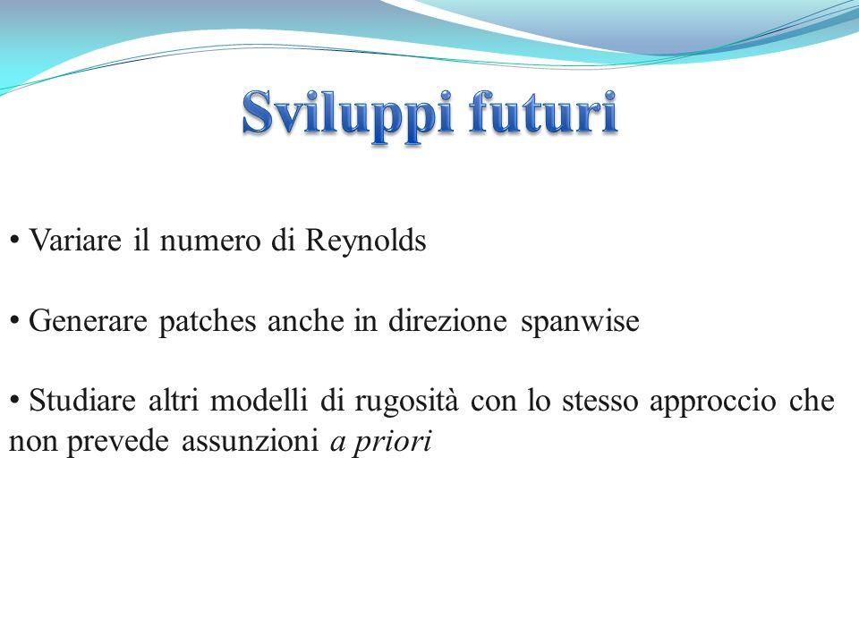 Variare il numero di Reynolds Generare patches anche in direzione spanwise Studiare altri modelli di rugosità con lo stesso approccio che non prevede