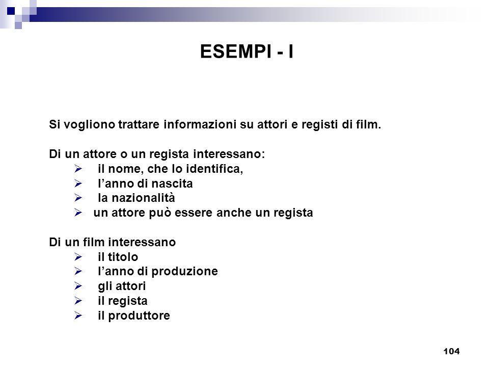 104 ESEMPI - I Si vogliono trattare informazioni su attori e registi di film. Di un attore o un regista interessano: il nome, che lo identifica, lanno