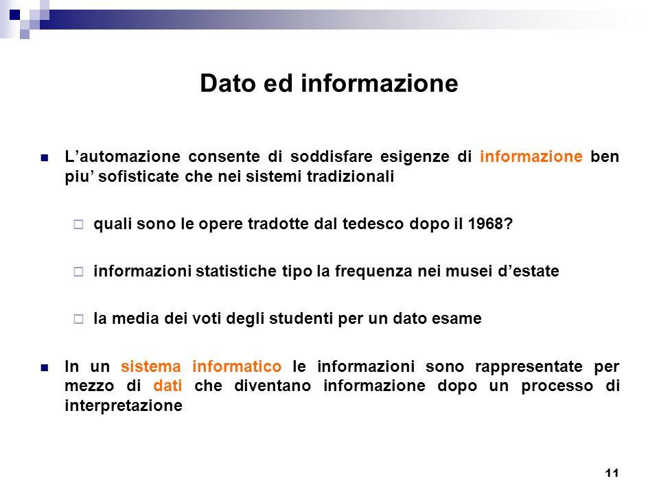 11 Dato ed informazione Lautomazione consente di soddisfare esigenze di informazione ben piu sofisticate che nei sistemi tradizionali quali sono le op