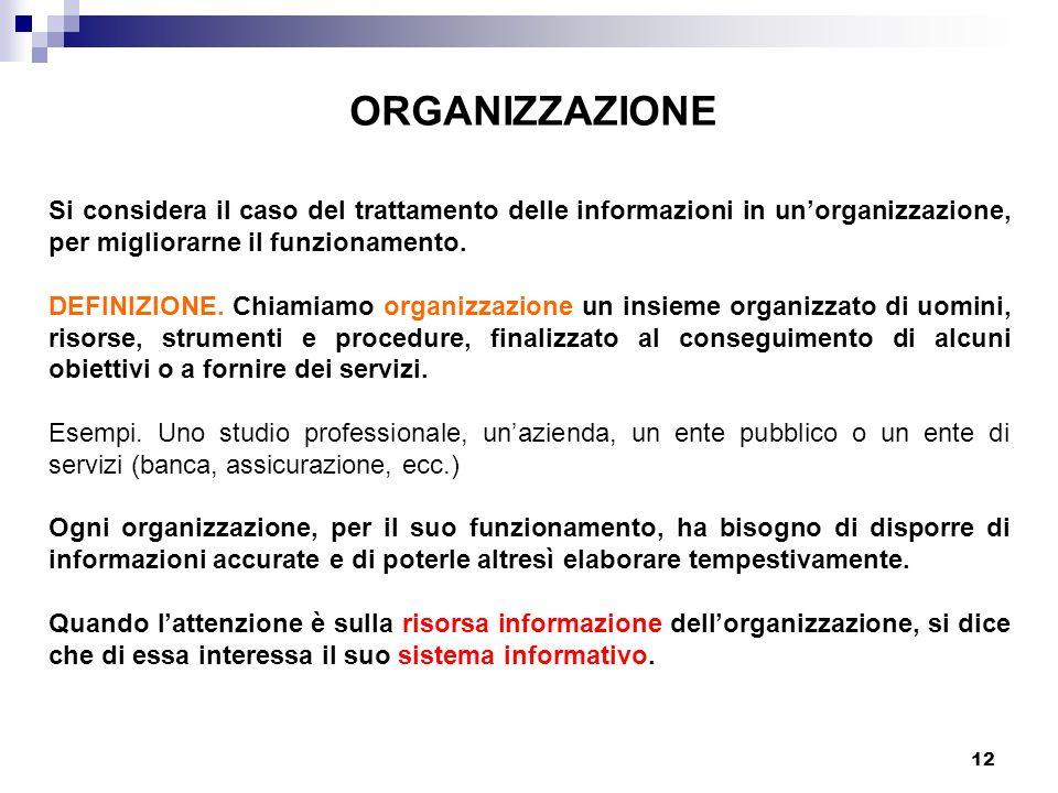 12 ORGANIZZAZIONE Si considera il caso del trattamento delle informazioni in unorganizzazione, per migliorarne il funzionamento. DEFINIZIONE. Chiamiam