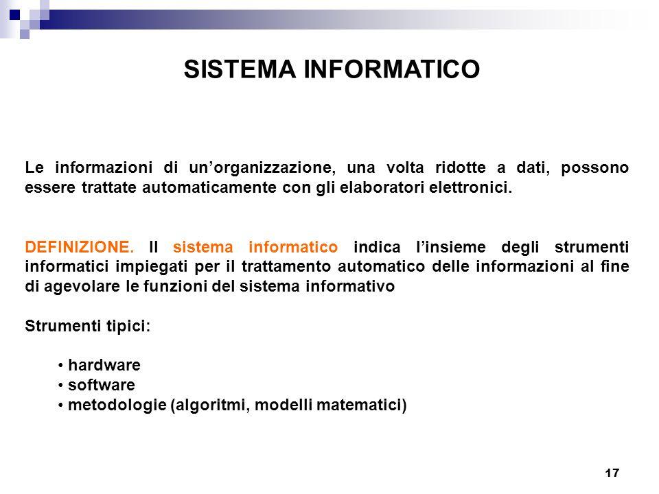 17 SISTEMA INFORMATICO Le informazioni di unorganizzazione, una volta ridotte a dati, possono essere trattate automaticamente con gli elaboratori elet