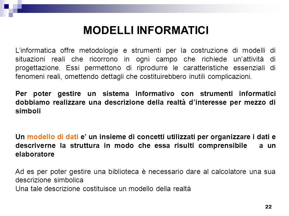22 MODELLI INFORMATICI Linformatica offre metodologie e strumenti per la costruzione di modelli di situazioni reali che ricorrono in ogni campo che ri