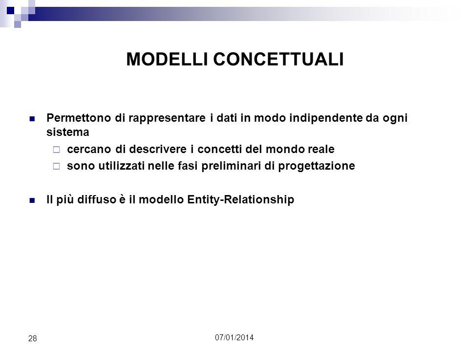 07/01/2014 28 MODELLI CONCETTUALI Permettono di rappresentare i dati in modo indipendente da ogni sistema cercano di descrivere i concetti del mondo r