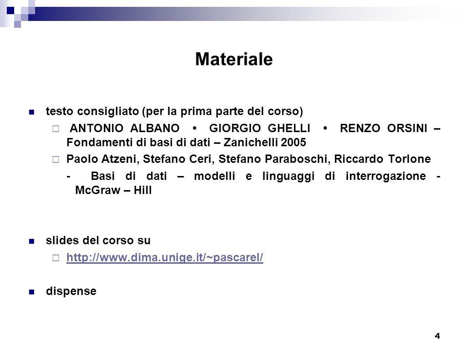 4 Materiale testo consigliato (per la prima parte del corso) ANTONIO ALBANO GIORGIO GHELLI RENZO ORSINI – Fondamenti di basi di dati – Zanichelli 2005