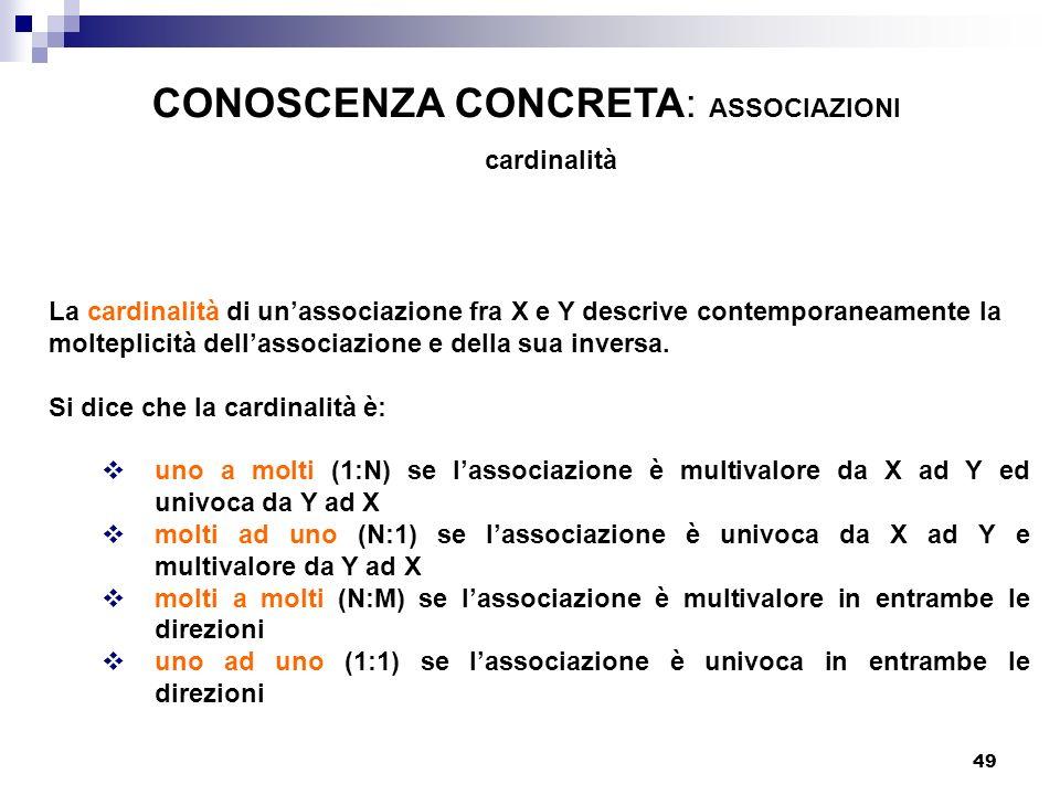 49 La cardinalità di unassociazione fra X e Y descrive contemporaneamente la molteplicità dellassociazione e della sua inversa. Si dice che la cardina