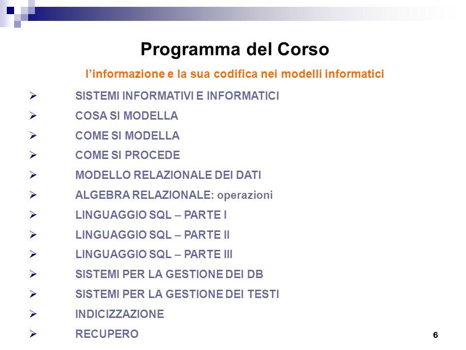 6 Programma del Corso linformazione e la sua codifica nei modelli informatici SISTEMI INFORMATIVI E INFORMATICI COSA SI MODELLA COME SI MODELLA COME S