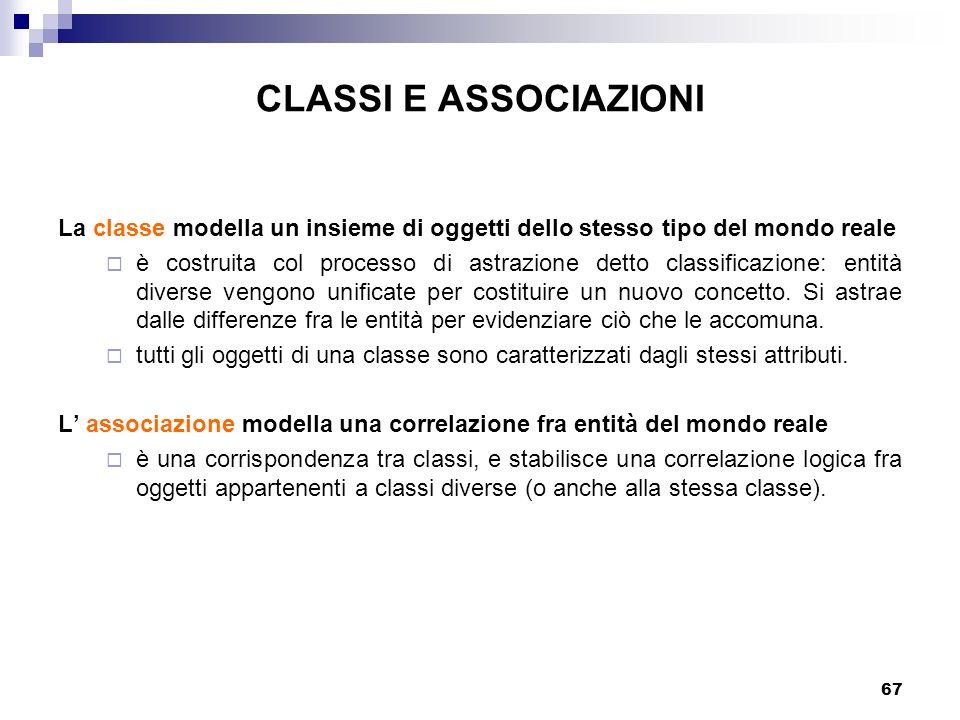 67 CLASSI E ASSOCIAZIONI La classe modella un insieme di oggetti dello stesso tipo del mondo reale è costruita col processo di astrazione detto classi