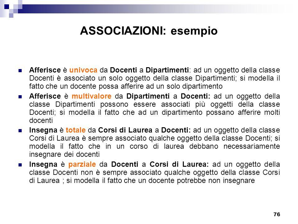 76 ASSOCIAZIONI: esempio Afferisce è univoca da Docenti a Dipartimenti: ad un oggetto della classe Docenti è associato un solo oggetto della classe Di