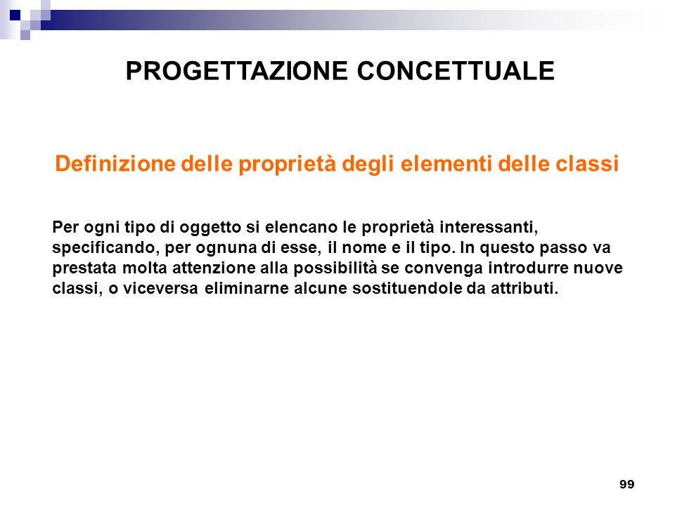 99 PROGETTAZIONE CONCETTUALE Definizione delle proprietà degli elementi delle classi Per ogni tipo di oggetto si elencano le proprietà interessanti, s
