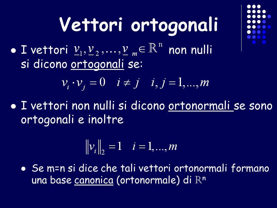 Vettori ortogonali I vettori non nulli si dicono ortogonali se: I vettori non nulli si dicono ortonormali se sono ortogonali e inoltre Se m=n si dice