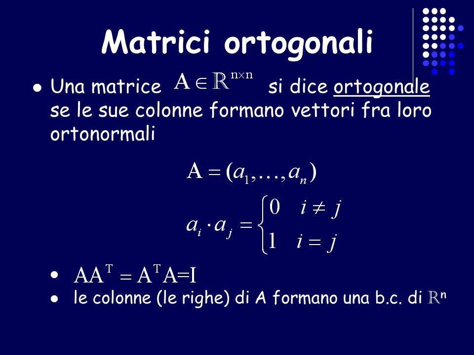 Vettori ortogonali in MATLAB Per verificare, mediante MATLAB, se 2 vettori colonna v 1,v 2 sono ortogonali Se il prodotto del vettore riga v1 col vettore colonna v2 e 0 => i vettori sono ortogonali Per calcolare la norma di un vettore v1*v2==0 norm(v)