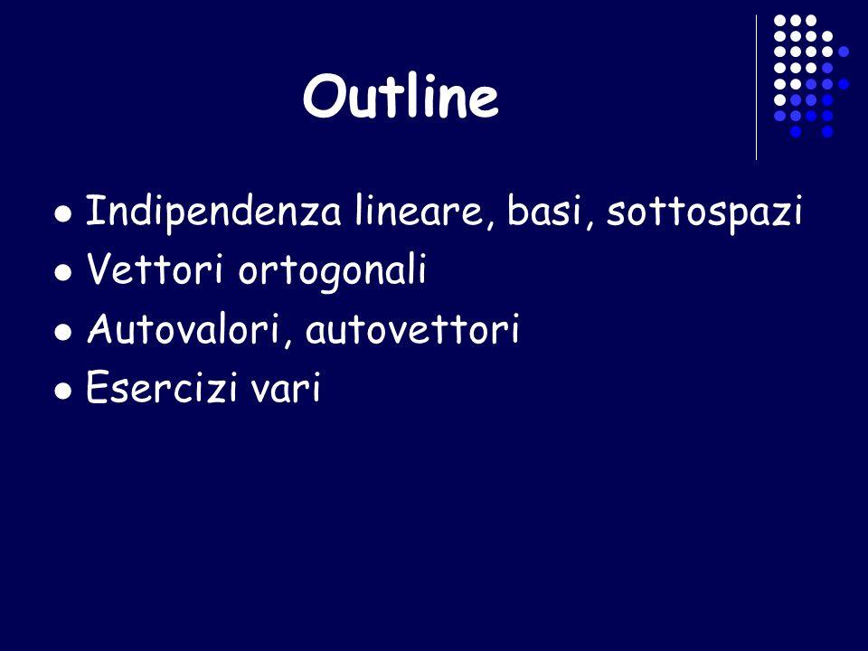 Outline Indipendenza lineare, basi, sottospazi Vettori ortogonali Autovalori, autovettori Esercizi vari