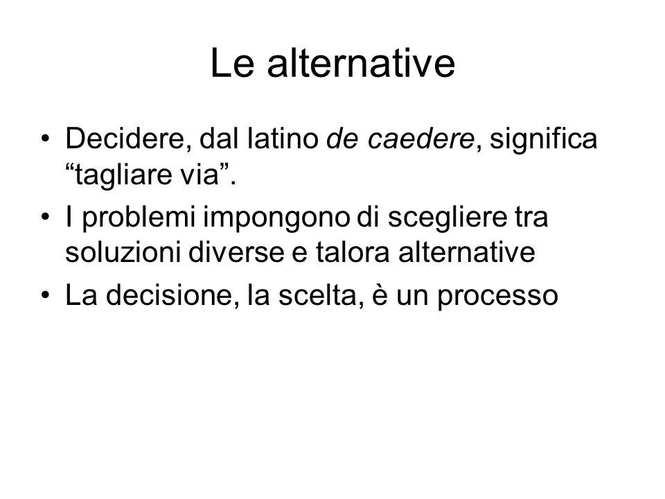 Le alternative Decidere, dal latino de caedere, significa tagliare via. I problemi impongono di scegliere tra soluzioni diverse e talora alternative L