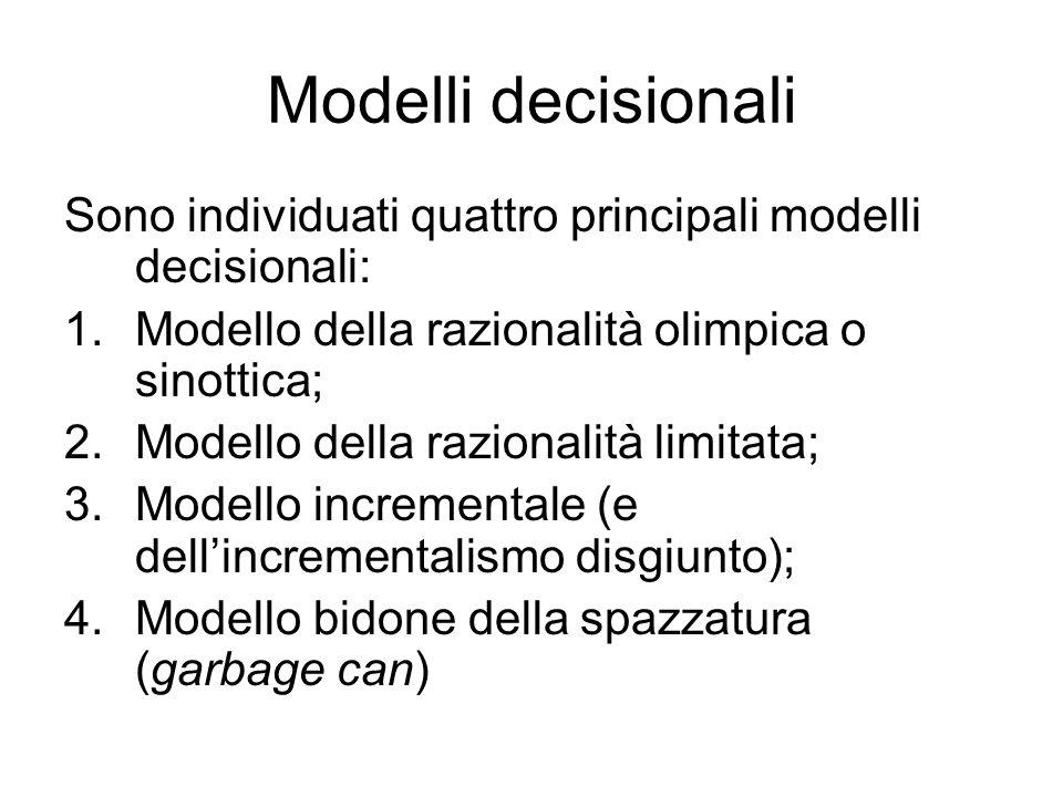 Modelli decisionali Sono individuati quattro principali modelli decisionali: 1.Modello della razionalità olimpica o sinottica; 2.Modello della raziona