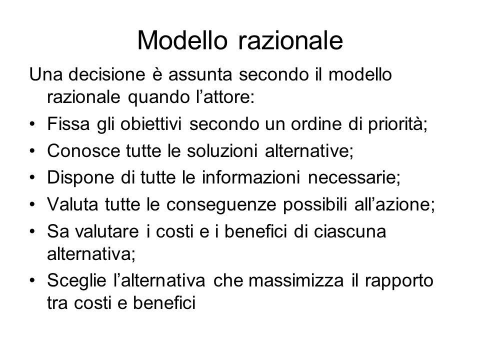 Modello razionale Una decisione è assunta secondo il modello razionale quando lattore: Fissa gli obiettivi secondo un ordine di priorità; Conosce tutt