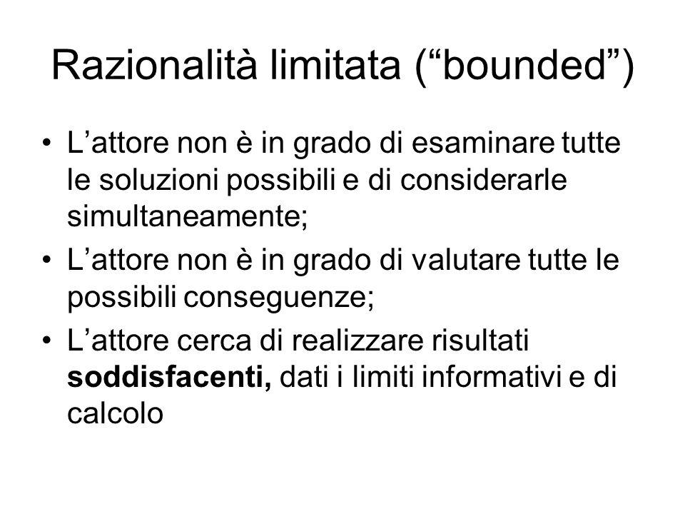 Razionalità limitata (bounded) Lattore non è in grado di esaminare tutte le soluzioni possibili e di considerarle simultaneamente; Lattore non è in gr