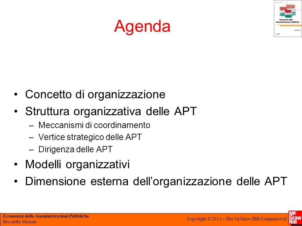 Economia delle Amministrazioni Pubbliche Riccardo Mussari Copyright © 2011 – The McGraw-Hill Companies srl Agenda Concetto di organizzazione Struttura