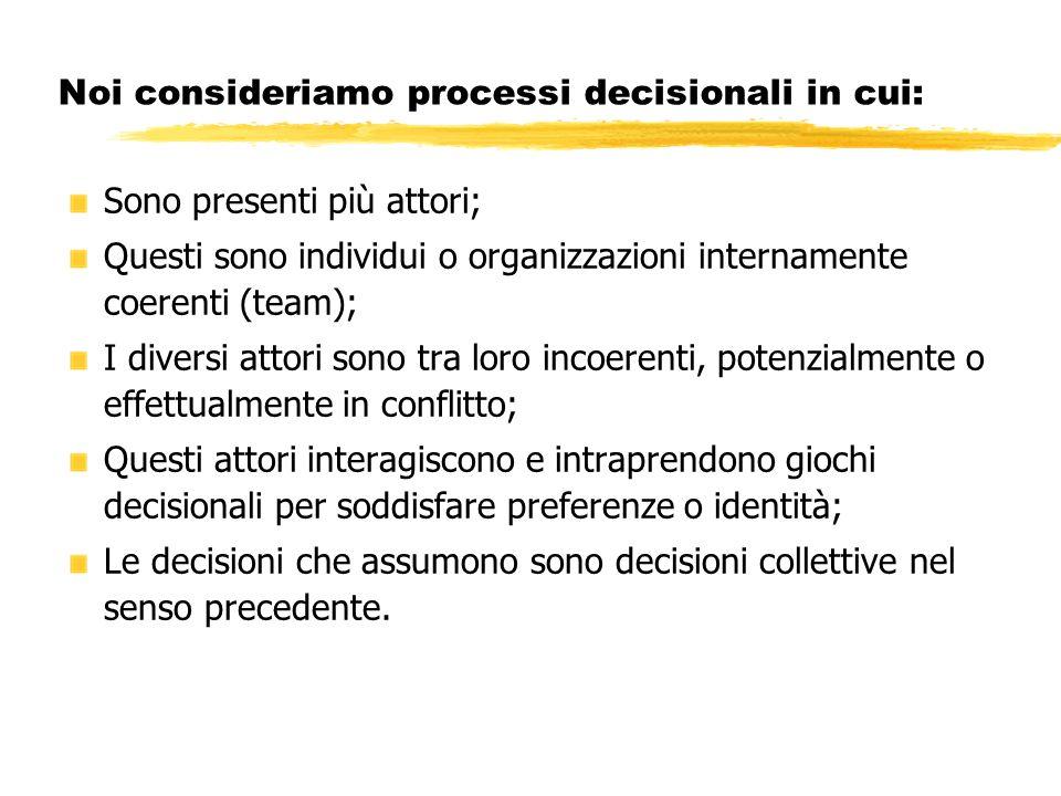 Noi consideriamo processi decisionali in cui: Sono presenti più attori; Questi sono individui o organizzazioni internamente coerenti (team); I diversi