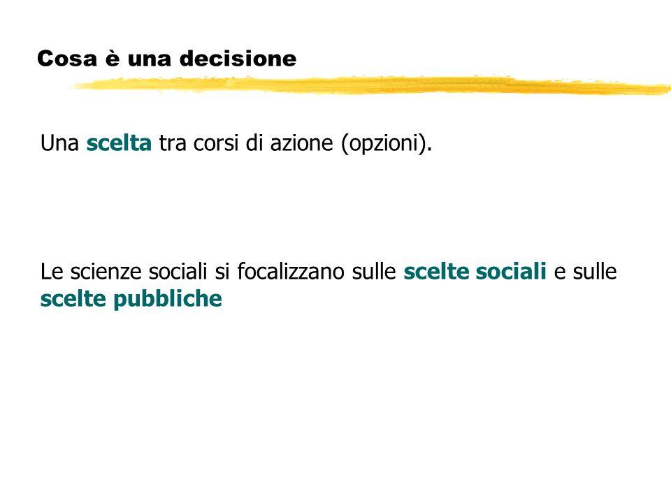 Cosa è una decisione Una scelta tra corsi di azione (opzioni). Le scienze sociali si focalizzano sulle scelte sociali e sulle scelte pubbliche