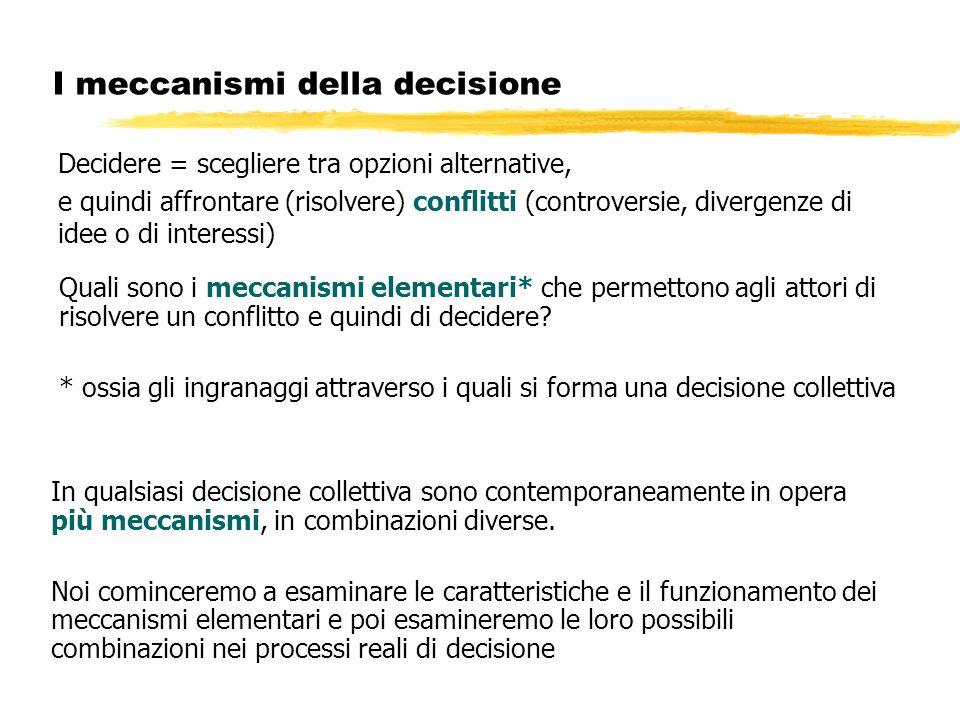 I meccanismi della decisione Decidere = scegliere tra opzioni alternative, e quindi affrontare (risolvere) conflitti (controversie, divergenze di idee