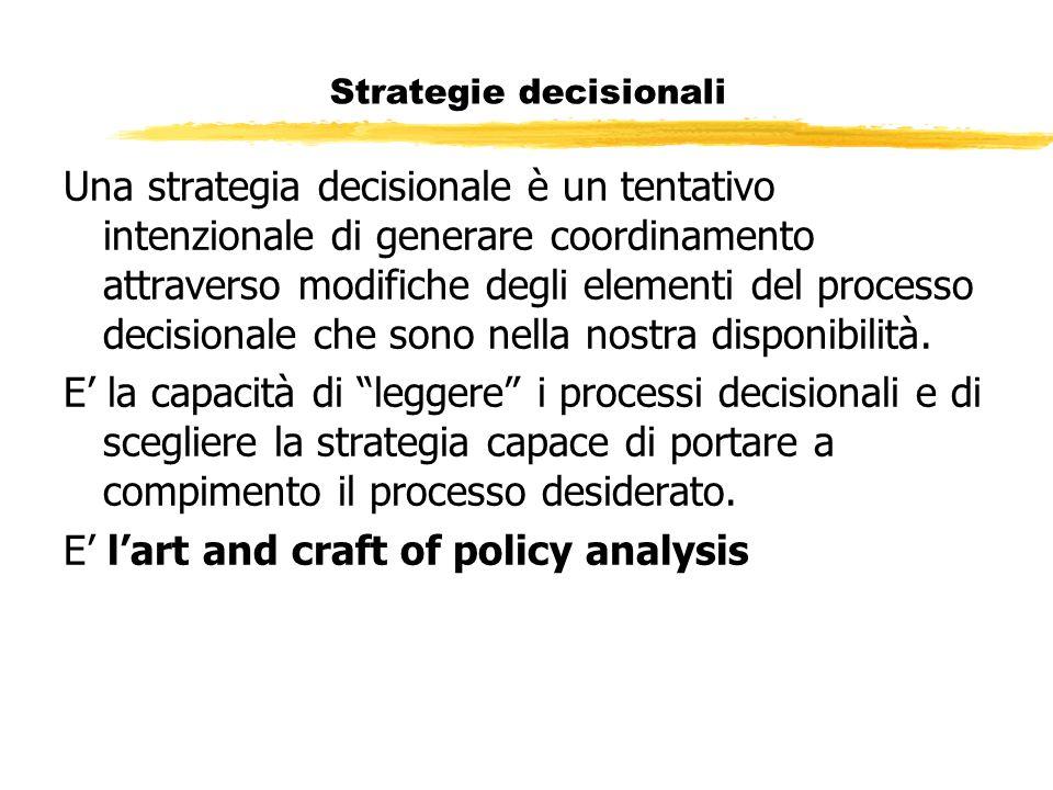 Strategie decisionali Una strategia decisionale è un tentativo intenzionale di generare coordinamento attraverso modifiche degli elementi del processo