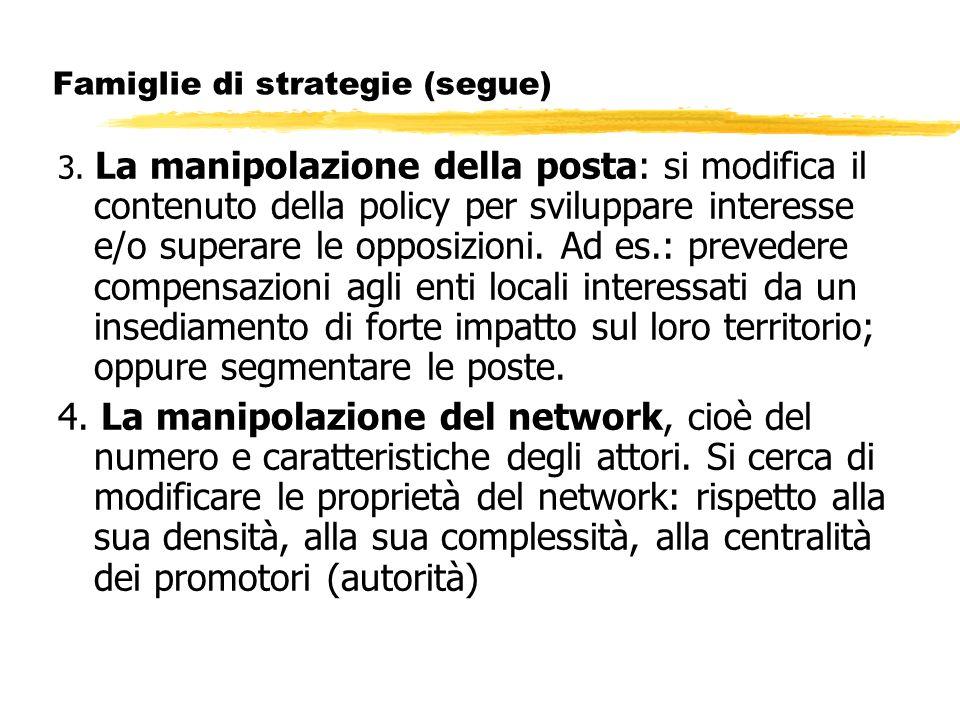 Famiglie di strategie (segue) 3. La manipolazione della posta: si modifica il contenuto della policy per sviluppare interesse e/o superare le opposizi