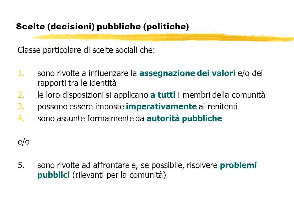 Scelte (decisioni) pubbliche (politiche) Classe particolare di scelte sociali che: 1.sono rivolte a influenzare la assegnazione dei valori e/o dei rap