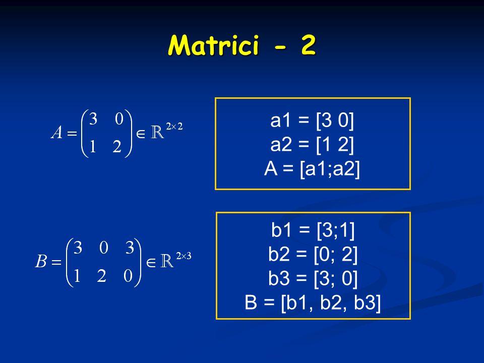 Matrici - 2 a1 = [3 0] a2 = [1 2] A = [a1;a2] b1 = [3;1] b2 = [0; 2] b3 = [3; 0] B = [b1, b2, b3]
