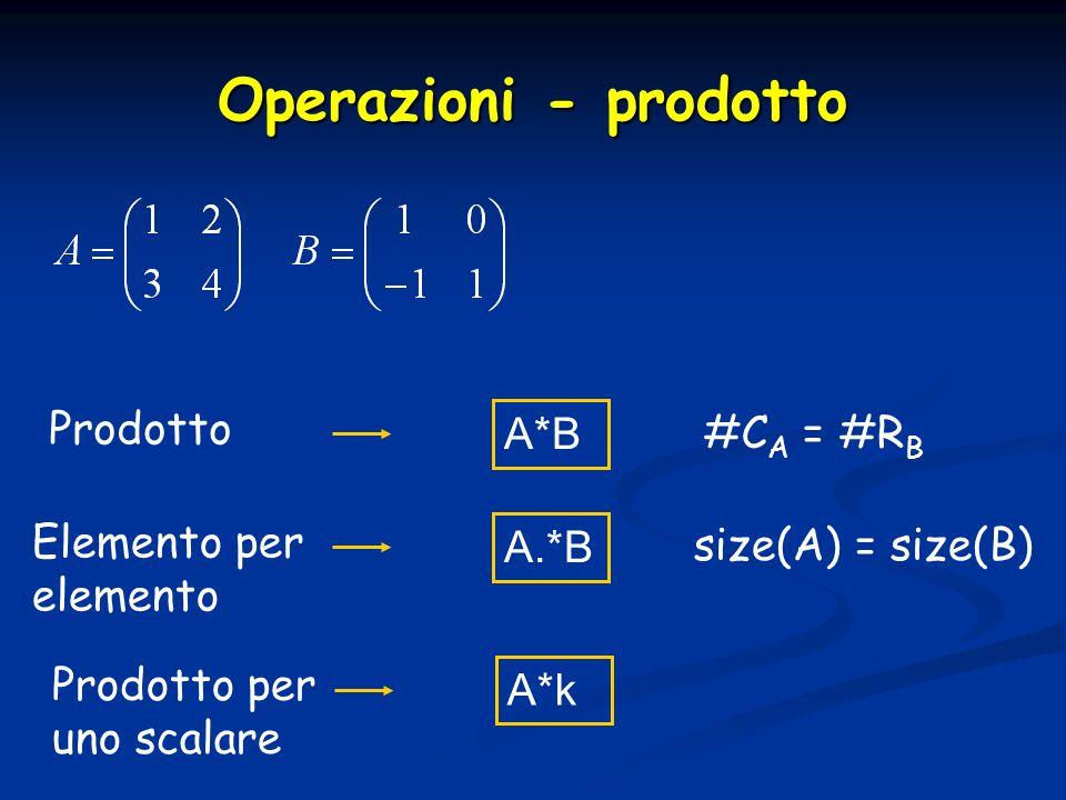 Operazioni - prodotto Prodotto A*B #C A = #R B Elemento per elemento A.*B size(A) = size(B) Prodotto per uno scalare A*k