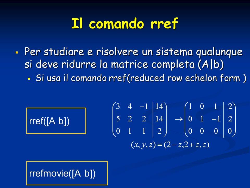 Il comando rref Per studiare e risolvere un sistema qualunque si deve ridurre la matrice completa (A|b) Per studiare e risolvere un sistema qualunque si deve ridurre la matrice completa (A|b) Si usa il comando rref(reduced row echelon form ) Si usa il comando rref(reduced row echelon form ) rref([A b]) rrefmovie([A b])