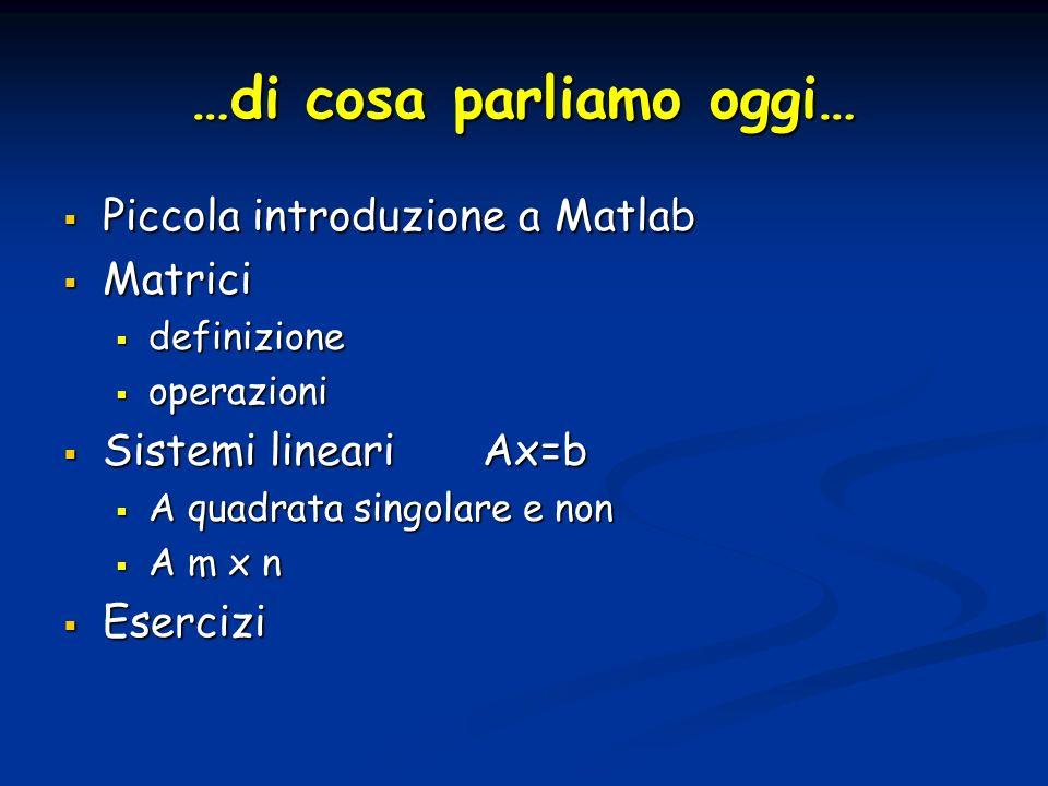 …di cosa parliamo oggi… Piccola introduzione a Matlab Piccola introduzione a Matlab Matrici Matrici definizione definizione operazioni operazioni Sist