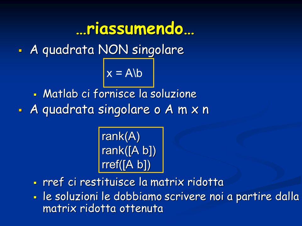…riassumendo… A quadrata NON singolare A quadrata NON singolare Matlab ci fornisce la soluzione Matlab ci fornisce la soluzione A quadrata singolare o A m x n A quadrata singolare o A m x n rref ci restituisce la matrix ridotta rref ci restituisce la matrix ridotta le soluzioni le dobbiamo scrivere noi a partire dalla matrix ridotta ottenuta le soluzioni le dobbiamo scrivere noi a partire dalla matrix ridotta ottenuta x = A\b rank(A) rank([A b]) rref([A b])