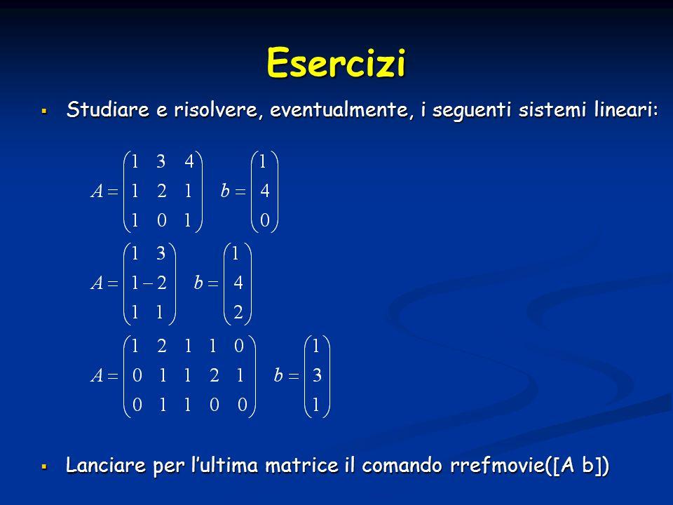 Esercizi Studiare e risolvere, eventualmente, i seguenti sistemi lineari: Studiare e risolvere, eventualmente, i seguenti sistemi lineari: Lanciare per lultima matrice il comando rrefmovie([A b]) Lanciare per lultima matrice il comando rrefmovie([A b])