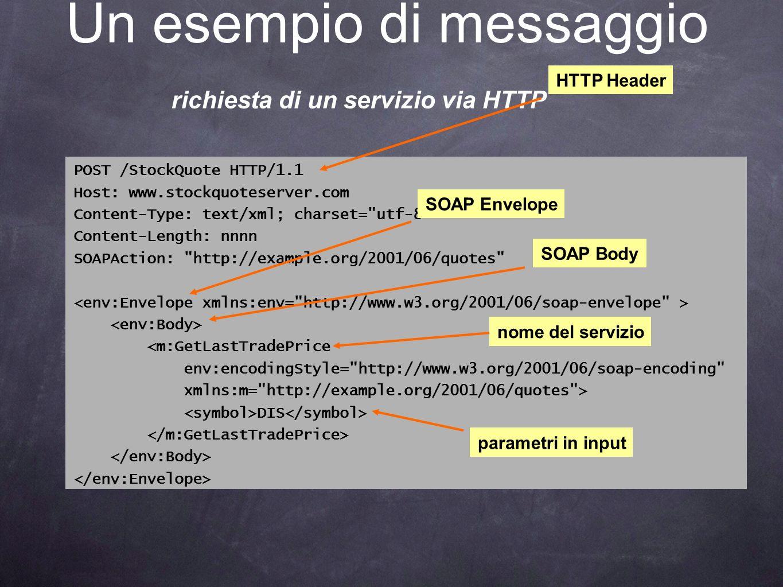Un esempio di messaggio richiesta di un servizio via HTTP POST /StockQuote HTTP/1.1 Host: www.stockquoteserver.com Content-Type: text/xml; charset=