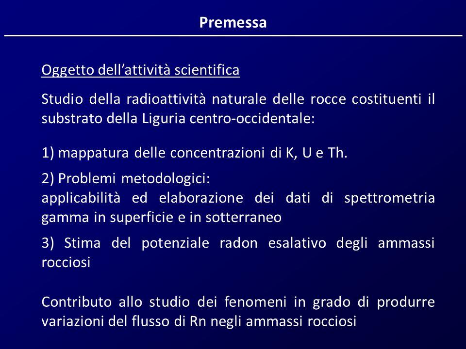 Premessa Oggetto dellattività scientifica Studio della radioattività naturale delle rocce costituenti il substrato della Liguria centro-occidentale: 1